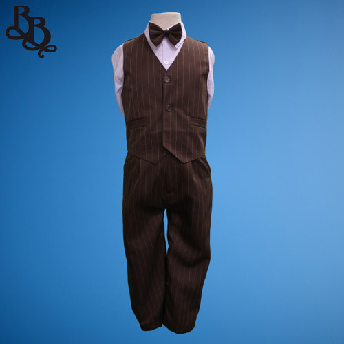 TT9B Pinstripe Brown Page Boy Vest Suit