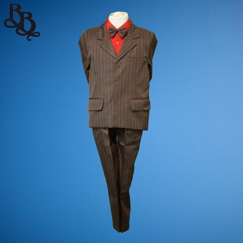 TT4B Brown Pinstripe 2 Piece Jacket Trouser Suit
