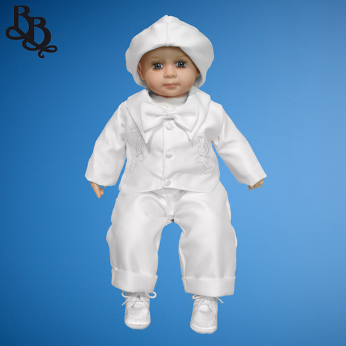 BB11 Long Sleeve Satin Christening Romper Dove and Cross