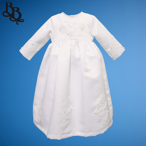 BU154 Long Sleeve White Embroidered Floral Satin Christening Dress Gown