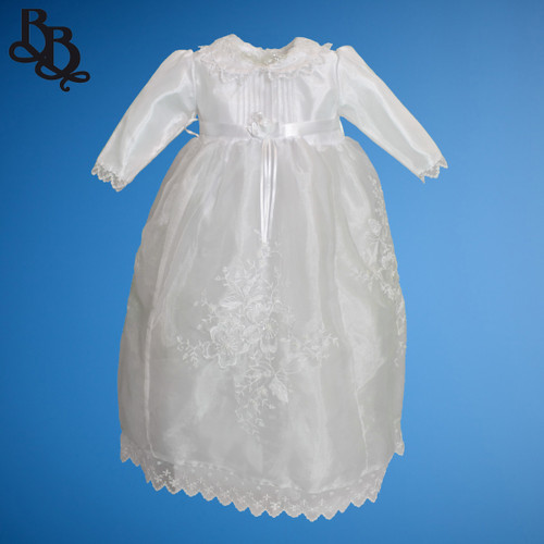 BU160 Long Sleeve White Embroidered Floral Shiny Satin Christening Dress Gown