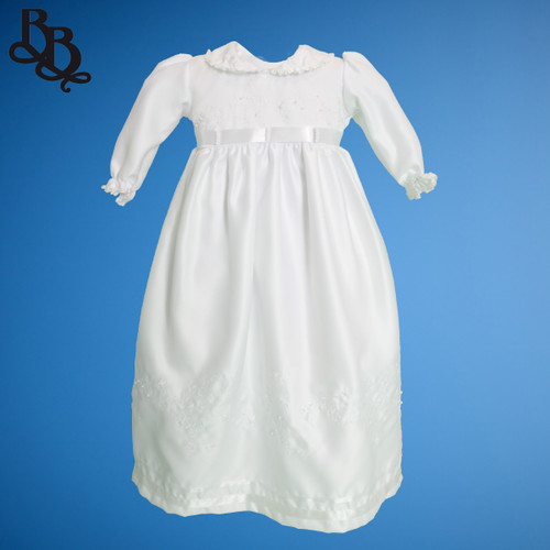 BU162 Long Sleeve White Embroidered Floral Satin Christening Dress Gown