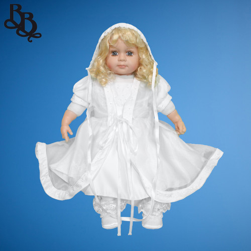 BU163 Short Sleeve 3 Piece Embroidered Floral Satin Christening Dress Set