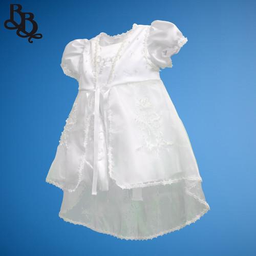 BU164 Short Sleeve White Embroidered Sequin Floral Satin Christening Dress Set