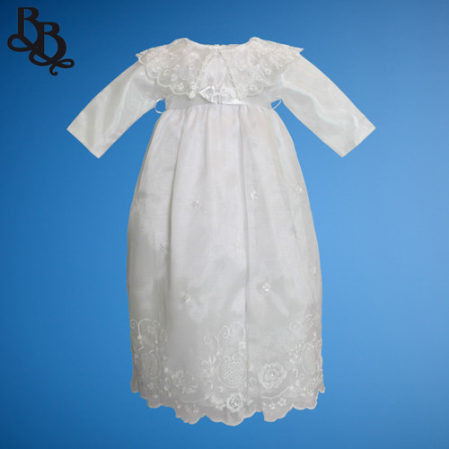 BU167 Long Sleeve White Embroidered Floral Christening Dress Gown