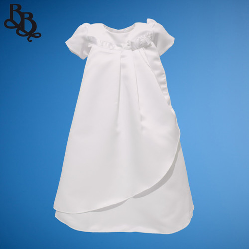BU169 Simple Unisex Short Sleeve White Christening Baptism Gown