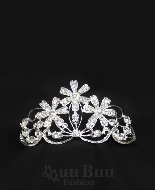1053 Regular Size Floral Daisy Design Rhinestone Tiara
