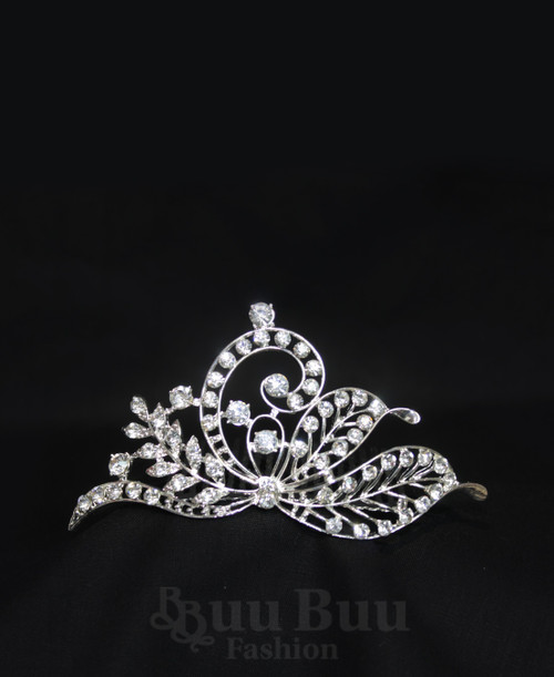 1037 Regular Size Leaves and Twigs Design Rhinestone Tiara