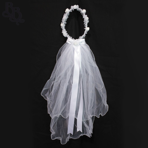 N108 Floral White Crown Headband