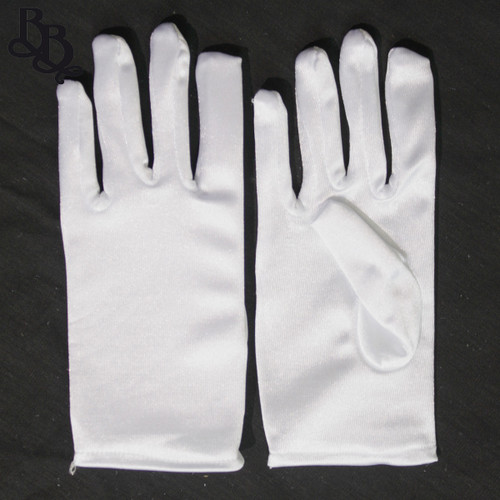 2071 Little Girls White Satin Formal Gloves