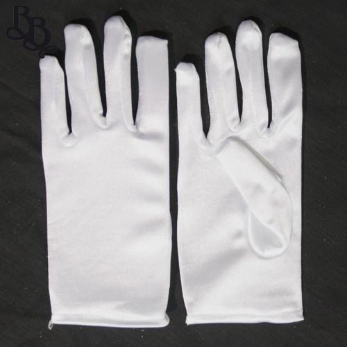 2071 Little Girls White Satin Formal Gloves