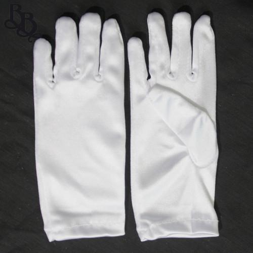 2072 Little Girls White Satin Formal Gloves