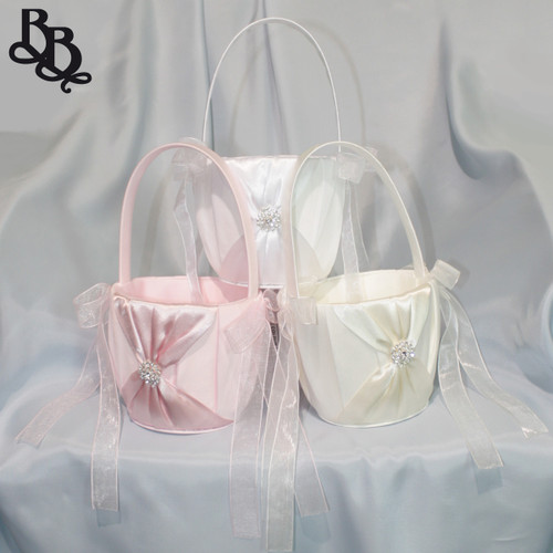 L397 Satin Diamante Flowergirl Basket