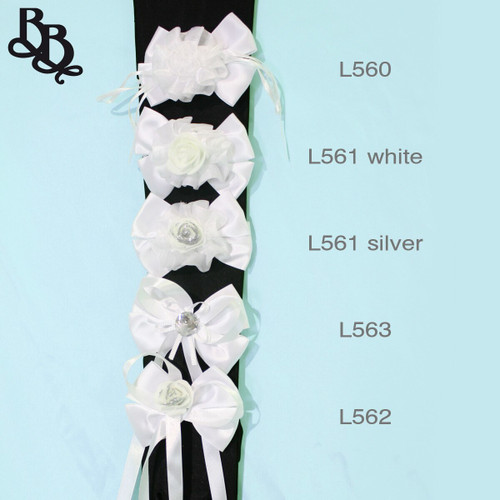 L562 White Silver Floral Bow Ribbon Elastic Hairtie
