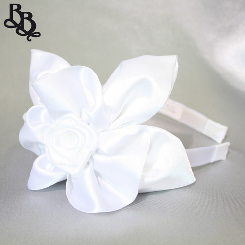 L526 Large White Floral Satin Headband