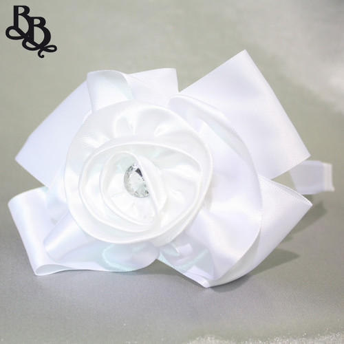 L527 White Floral Satin Ribbon and Rhinestone Headband