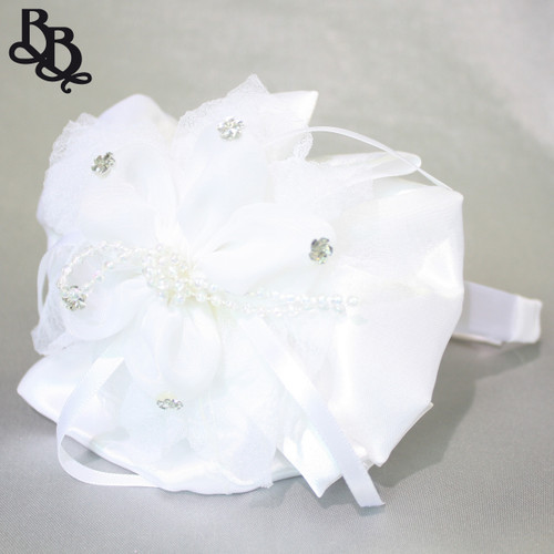 L528 White Floral Satin Ribbon and Floral Sequin Beads Headband