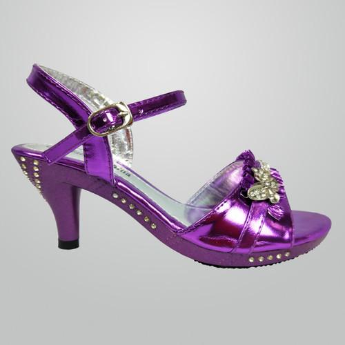 G382 Girls Rhinestone High Heel Shoe with Butterfly Charm