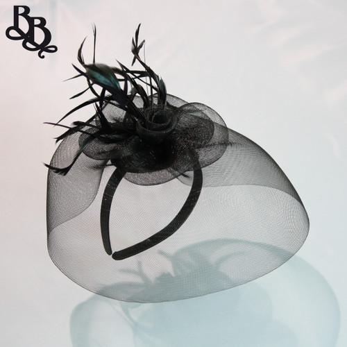 J915 Large Net Yarn Floral Feather Fascinator Headband