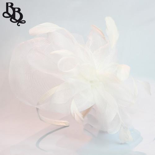 J914 Large Net Yarn Floral Feather Fascinator Headband