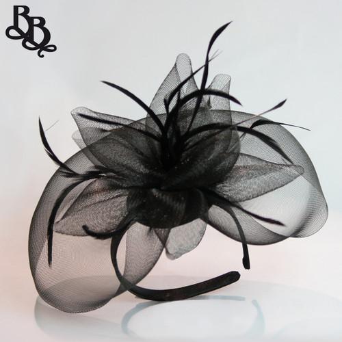 J913 Large Net Yarn Floral Feather Fascinator Headband
