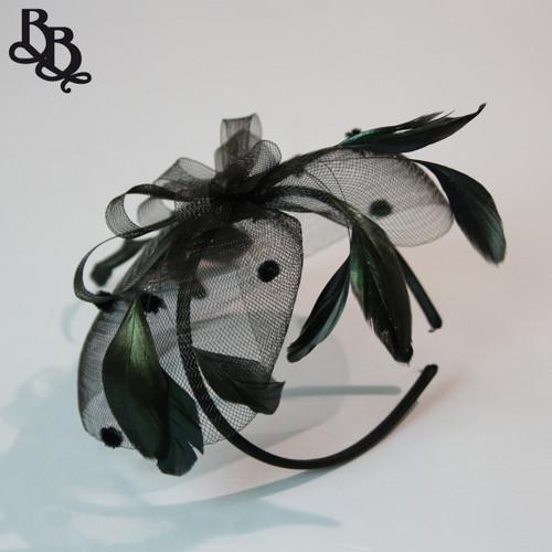 J911 Net Yarn Floral Feather Spots Fascinator Headband