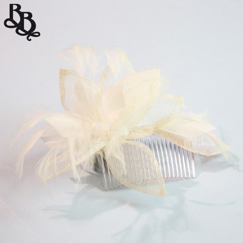 J910 Beige Floral Feather Fascinator Headpiece with Comb