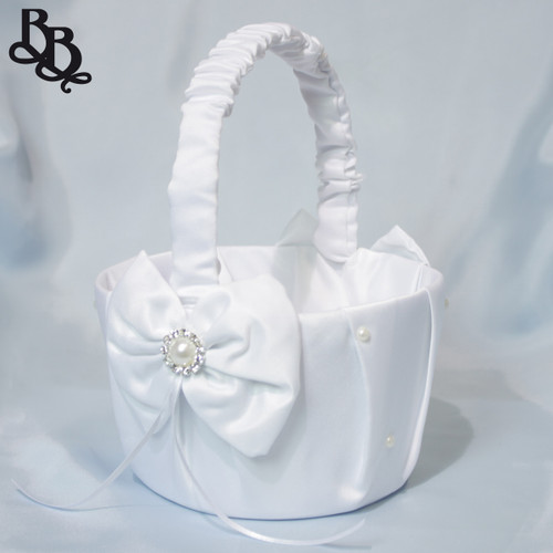 L400 White Mid Size Flowergirl Basket with Pearl Ribbon Bow