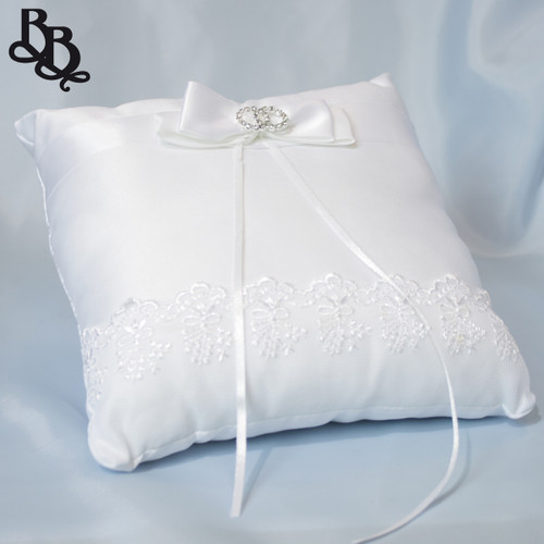 L395 White Wedding Ring Pillow with Lace Bow Rhinestone Ribbon