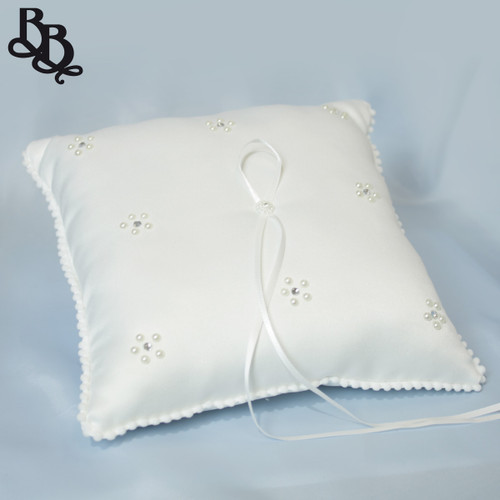 L393A Off White Wedding Ring Pillow with Pearl Rhinestone Ribbon