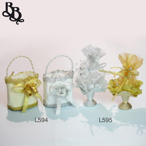 L595 Silver Gold Bomboniere Gift Bag Vase with Beads Ribbon Netting