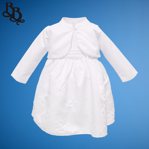 BU329 Baby Girl Toddler Floral Embroidery Satin Dress with Bolero