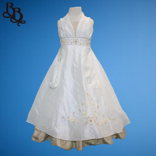 BU321 Girl Floral Sequin Halter Neck Party Dress