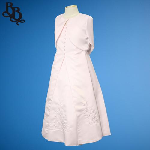 BU285 Girl Floral Embroidery Satin Dress with Bolero