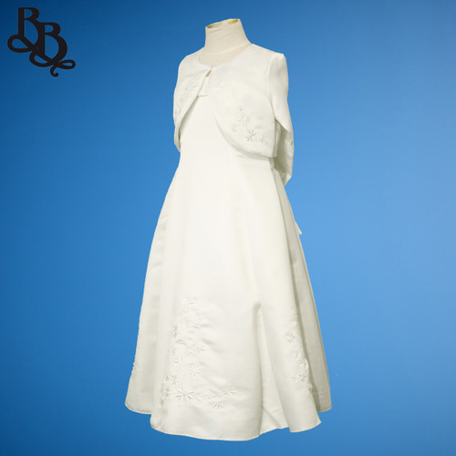 BU121 Girl Floral Sequin Flowergirl Satin Dress with Bolero