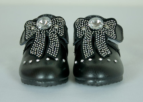 G355 Girls Toddler Faux Leather Boots with Large Rhinestone and Strap