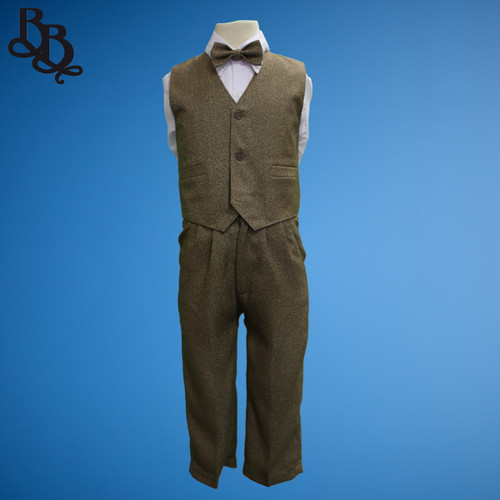 TT29 Vintage Brown Grey Pageboy Vest Suit