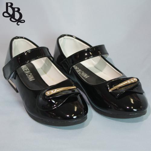 G415 Girls Colour Shoe with Diamante Leaf