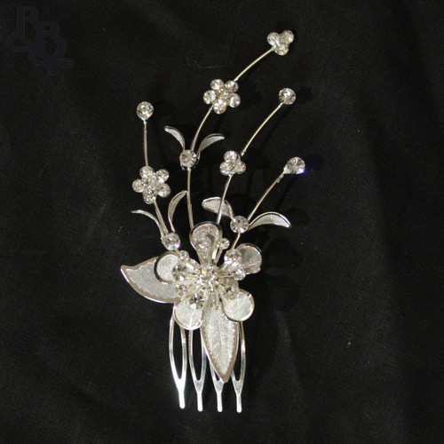 N201 Diamante Floral Headpiece with comb