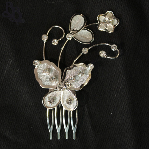 N202 Diamante Floral and Butterfly Headpiece with comb