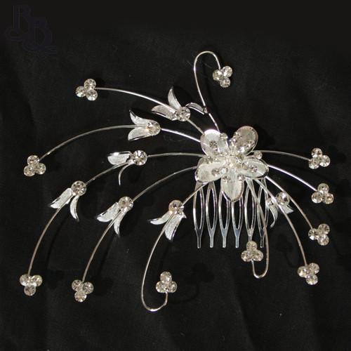 N209 Diamante Floral Headpiece with comb