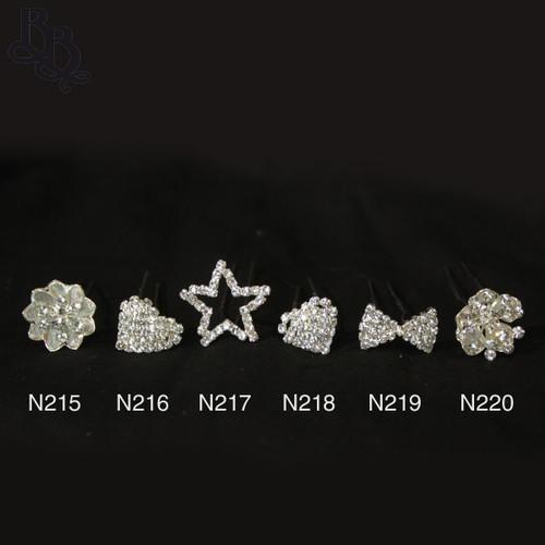 N218 Diamante Heart Shaped Hairpin
