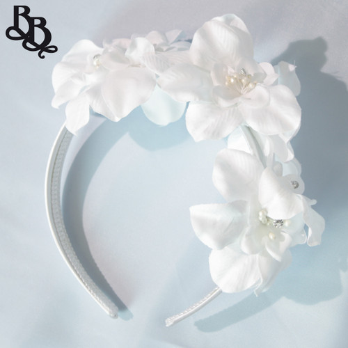 FL01 White Floral Headband