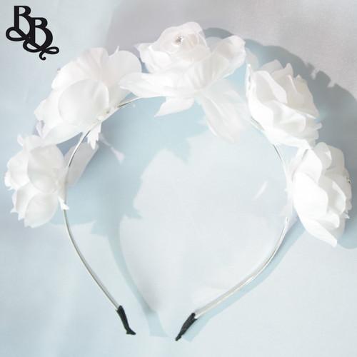 FL05 White Floral Headband
