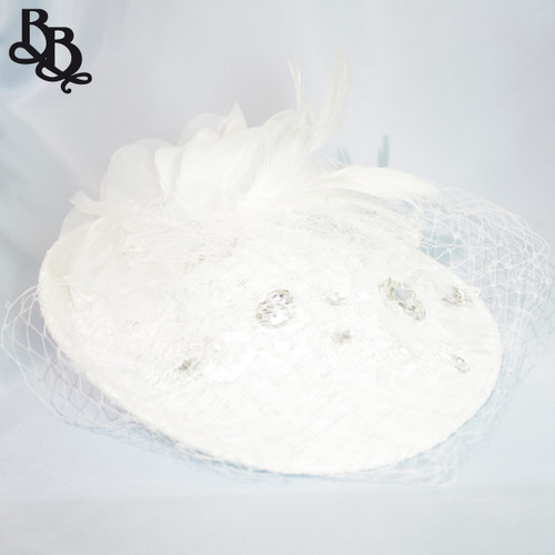 FL13 White Ladies Floral Fascinator