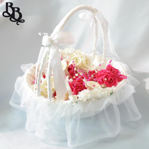 N262 Mid Size Floral Flowergirl Basket