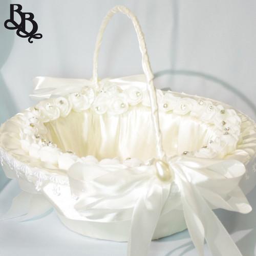 N302 Large Floral Flowergirl Basket