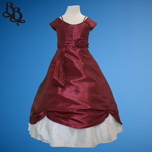 BU261 Girls Simple Maroon Party Dress