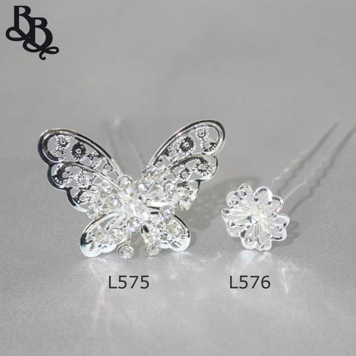 L575 Girls Rhinestone Butterfly Hairpin
