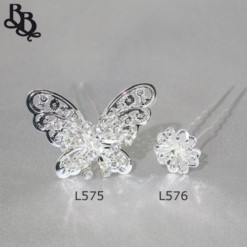 L576 Girls Rhinestone Floral Hairpin